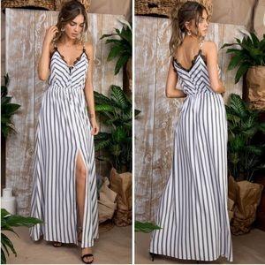 Dresses & Skirts - Striped White & Black Lace Trim Maxi Dress
